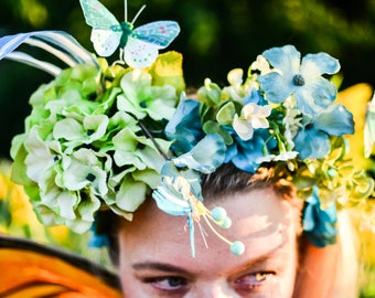 Turquoise Green Blue Floral Crown ButterflyHeaddress