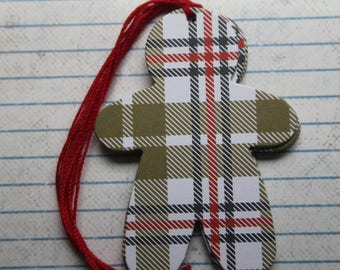 16 Khaki, White, Red, Black Plaid gingerbread man chipboard tags