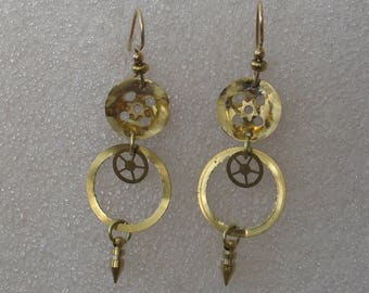 Gold Colored Watch Part Earrings