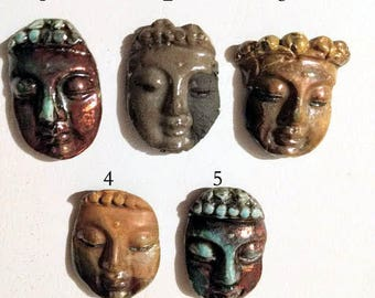Raku Buddha Face Magnets- Price is for one