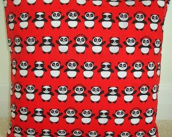 """Panda 16"""" Cushion Cover 16x16 Pillow Sham Case Slip Pillowcase Pandas Black White and Red Cute"""