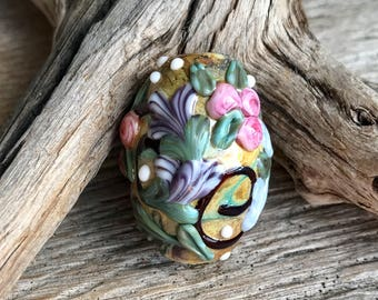 SUNSHINE - Handmade Lampwork Floral/Flower Focal Bead - 1 Focal Bead