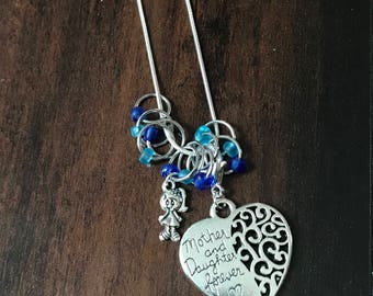 Mother and Daughter Necklace - For Knitters, silver plated necklace holds stitch markers & progress keepers in style, progress keeper, gift