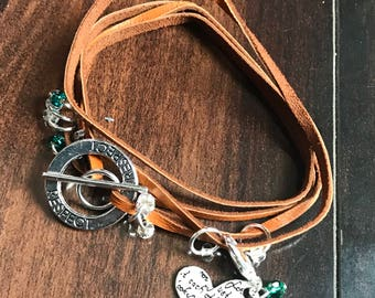 Boho SILVER Respect Circle Quad Wrap Bracelet - For small markers. For Knitters, leather, holds stitch markers and progress keepers in style