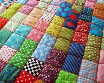 1960s Quilted Tablecloth, Bright Hippie Table Linen, Hand Made Quilt Top,  Clown Quilt