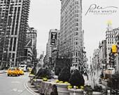 black white NYC, yellow taxi, NYC taxi, black white flatiron, yellow taxi print, large New York print, nyc canvas, flatiron building