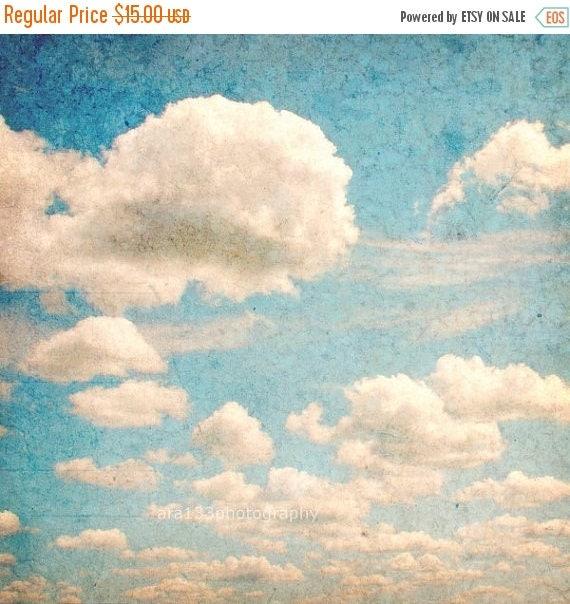 50 off sale blue home decor nature photography cloud art for Home decor 50 off