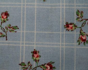 10% OFF SALE Pink and Red Rosebuds on Blue Plaid - Cottage Romance by Maywood Studio 2148-b (fq003 +y) by the Yard