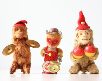 Vintage Monkey Toys, Set of 3, Wind Up Monkeys