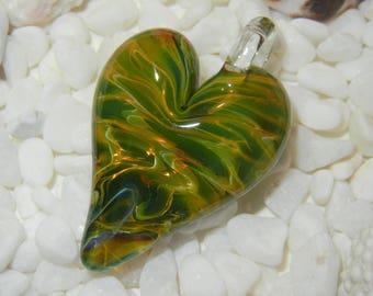 Lampwork Boro Glass Pendant - Focal Bead - HEART green gold