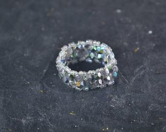 Firepolish And Seed Bead Beaded Ring - Wide Beaded Ring - Size 8-9 Ring - Flexible Beaded Ring