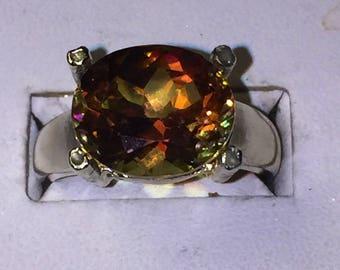 Azotic mystic topaz ring