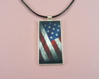 US Flag NECKLACE or KEYCHAIN Domino Pendant Fob Red White Blue 4th of July Patriotic Americana Military Support Our Troops Gift for Her Him