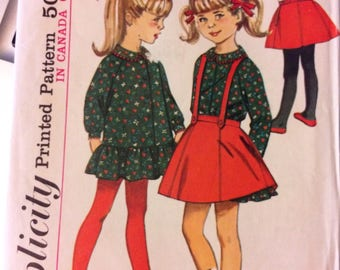 Vintage 60's Simplicity 6105 Girls' Dress and Skirt Size 5   Complete