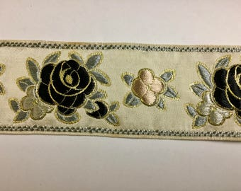 Vintage Lace trim White Satin with Black Rose and Copper Flowers