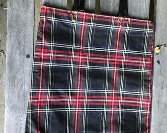 "Vintage cloth plaid shopping tote no more plastic bags 16"" by 14"""