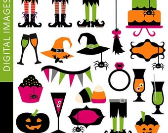 35% OFF SALE Halloween clip art - Clipart Cool Halloween Party.. Commercial use.. Instant download