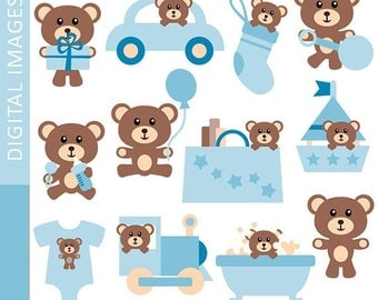 35% OFF SALE Cute blue brown teddy bear clip art - Clipart Baby Boy Teddy Bear - Commercial use, digital images, instant download