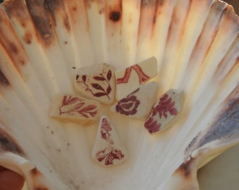 Set of 6 Maroon/Red and White Scottish Sea Pottery