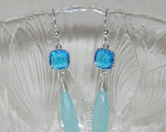 Sterling silver Earrings, Dangle Earrings, Gemstone -Chalcedony, Cubic Zirconia, Fashion Jewelry