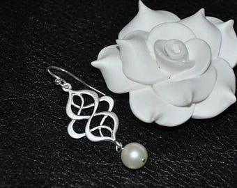 Bridal Earrings, Sterling Silver, Dangle Earrings, Swarovski Pearls, Pearl Earrings, Bridal Earrings, Wedding Jewelry