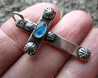 Australian Opal Doublet Sterling Silver Cross Pendant Charm