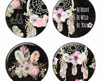 Floral Dreamcatchers Feathers Magnets or Pinback Buttons or Flatback Medallions