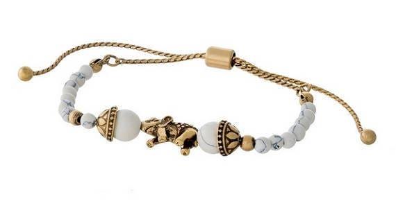 White Pull-Tie Elephant Bracelet