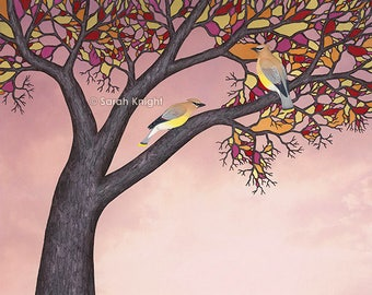 cedar waxwings on the stained glass tree - signed print 8X10 inches by Sarah Knight, birds branches bark brown red pink orange yellow beige