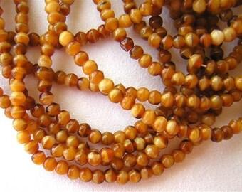 New 100 Round CZECH Glass Beads AUTUMN BROWNS 4mm