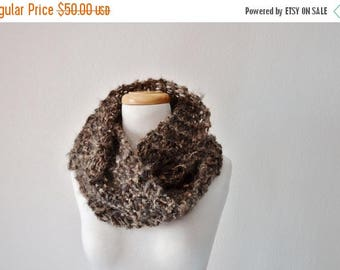 First Fall Sale - 15% Off Chunky Knit Lightweight Cowl Hand Knit in Brown Wool, Mohair, Acrylic Blend. Mori Girl, Boho, Fall Fashion, Autumn