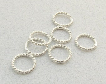 SHOP SALE 7mm Bright Bali Sterling Silver Twisted Wire Closed Jump Rings, Jewelry Findings Supplies (10 beads)