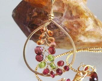 Gemstone Vine Teardrop Pendant, 14k Gold Filled Necklace with Sapphires, Garnet, Spinel, and Vesuvianite