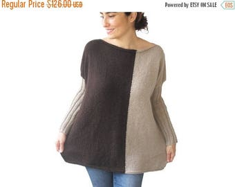 20% WINTER SALE NEW - Brown - Light Brown Sweater Plus Size Over Size