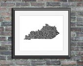 Kentucky typography map a...