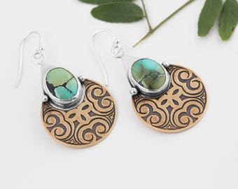 Queen Nefertiti Earrings, Mixed Metal, Etched, Silver Turquoise Earrings, Brass, Hubei Turquoise, Limited Edition, Gifts for Her, BOHO Style