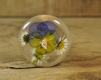 Resin Drop Spindle - Viola and Daisy
