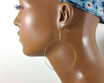 Gold hoop earrings 2 inch 14k gold filled wire threader or gold plated bestseller 481