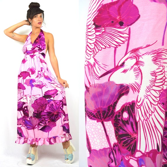Vintage 60s 70s Birds and Cranes Halter Back Maxi Dress (size xs, small)