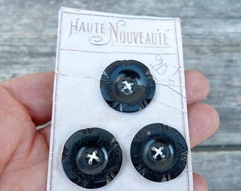 ON SALE Vintage Antique /1930s French black  buttons set of 3 on a card