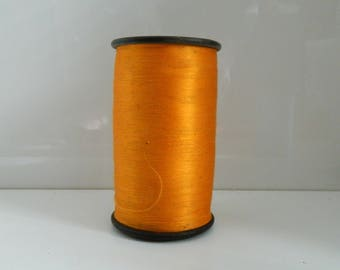 Antique French Wooden Bobbin. Large Weaving Spool. Bobbin and Thread. Vintage orange Silk Bobbin