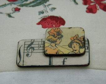 Brooch - Antique paper and wooden chips brooch - Handmade jewelry - handmade brooch -  1930 graphic - Girls and music
