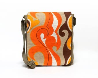 Vintage Fabric Upcycled Canvas Messenger Bag, Orange Shoulder Bag, Retro Crossbody Bag by EllaOsix