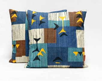 Blue Mid Century Pillow Covers set of 2, Modern Throw Pillows, Atomic decor cushions made from vintage Romanex de Boussac fabric by EllaOsix