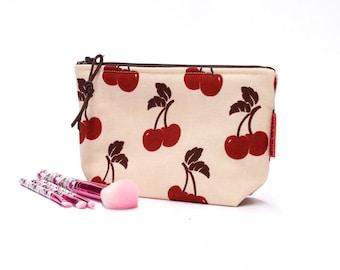 Cherries Cosmetic Bag - Vintage fabric  Makeup Bag -  Zipper Pouch - Retro Toiletry Bag Handmade by EllaOsix