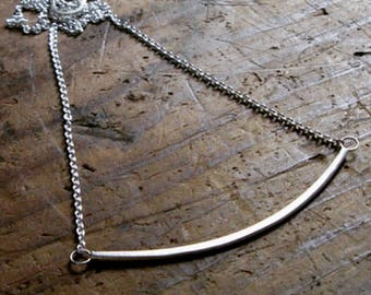 Sterling Silver Small Crescent Necklace