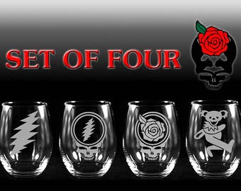 Grateful Dead Stemless Wine Glass Etched Engraved Set of Four Glasses