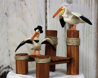 Wedding Cake Topper-Pelican-Boat Dock-Bird-Bride and Groom-Mr and Mrs-Dock-Destination Wedding-Animal Cake Topper