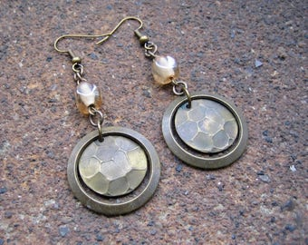 Eco-Friendly, Unique, Dangle Earrings - Brass and Glass - Recycled Vintage Brass Hoops & Hammered Circles, Pale Wheat Pinched Glass Beads