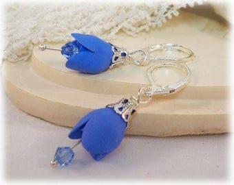 Petite Tulip Earrings - Tulip Jewelry, Little Tulip Drop Earrings, Mother Gift Idea